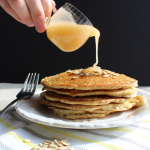 Oatmeal Pancakes with Salted Caramel Syrup